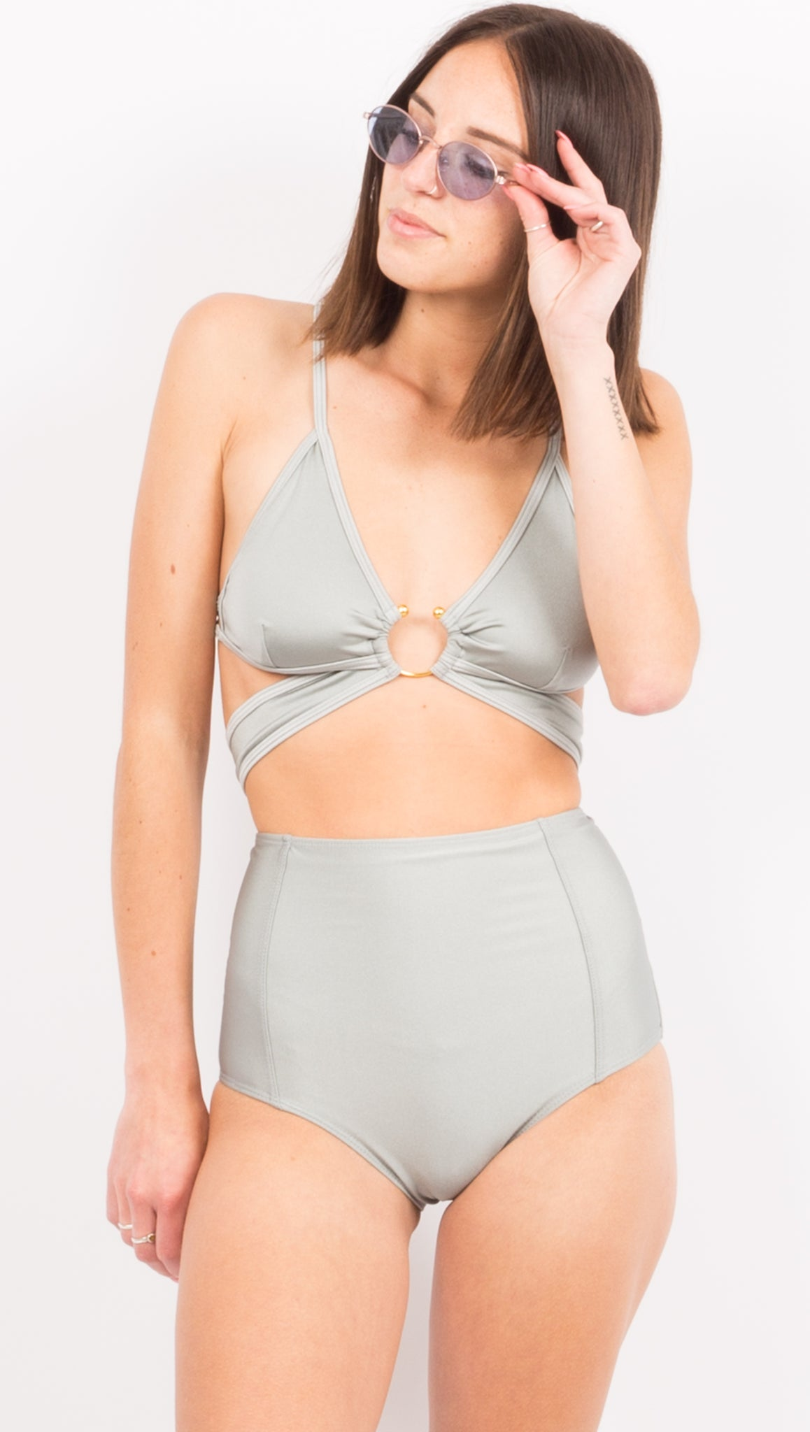 Metallic Gray High Waist Bikini Bottom