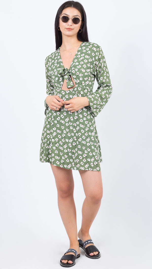 East N' West Label Green and White Floral Tie Mini Dress