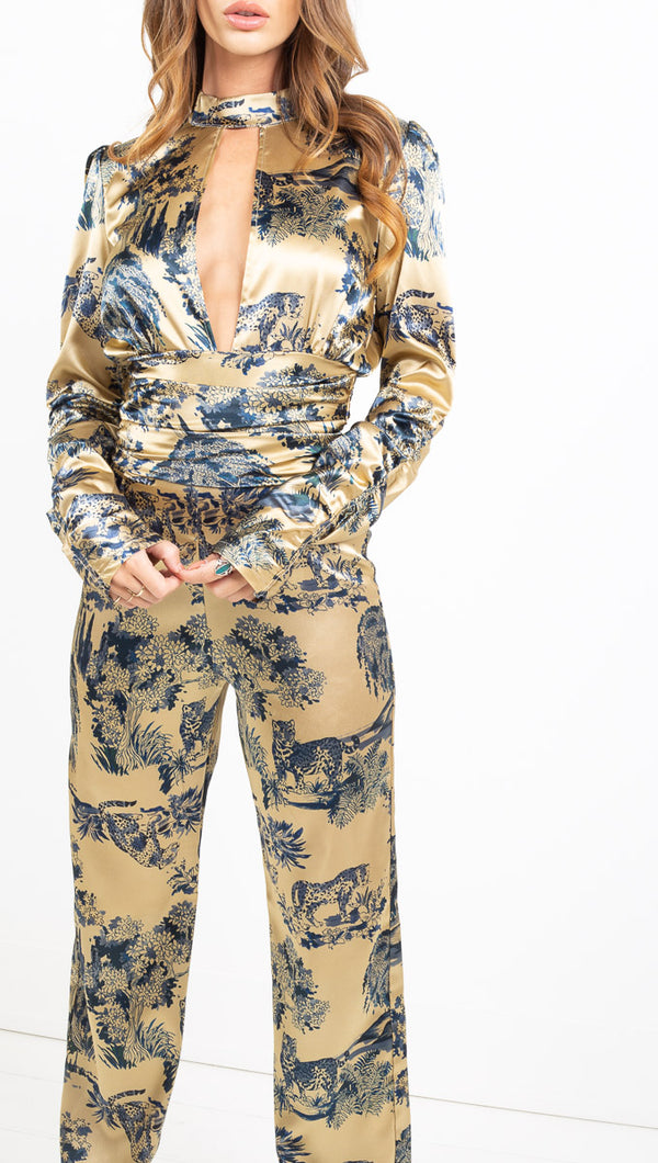 Elle Jay gold/blue print silk long sleeve jumpsuit
