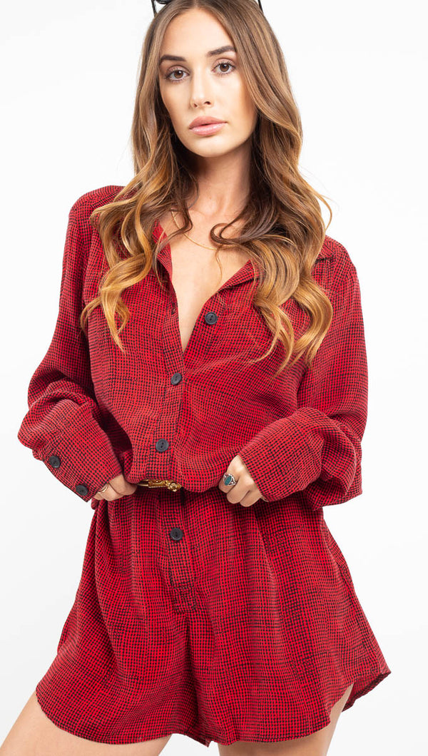 Delilah Romper - Red Houndstooth