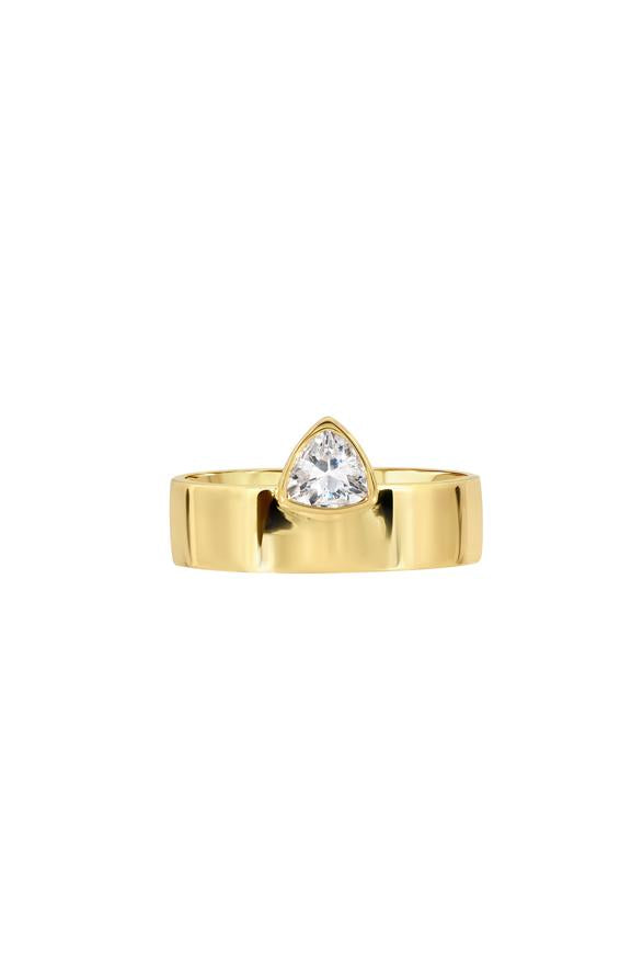 lili claspe trillion cigar ring smooth gold