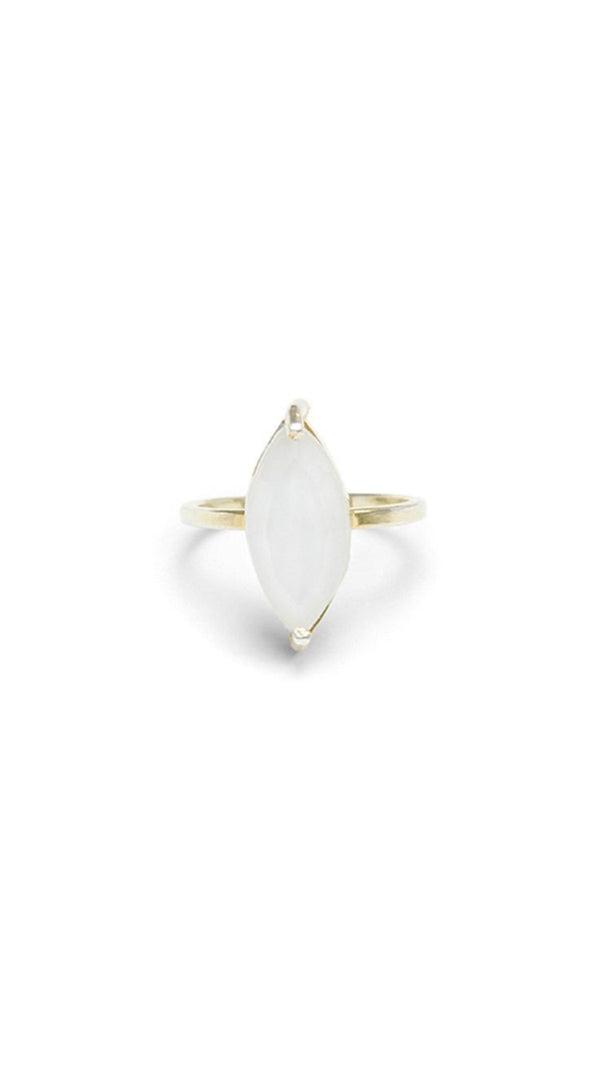 Erin Fader Gold Ring With Marquise Cut Moonstone