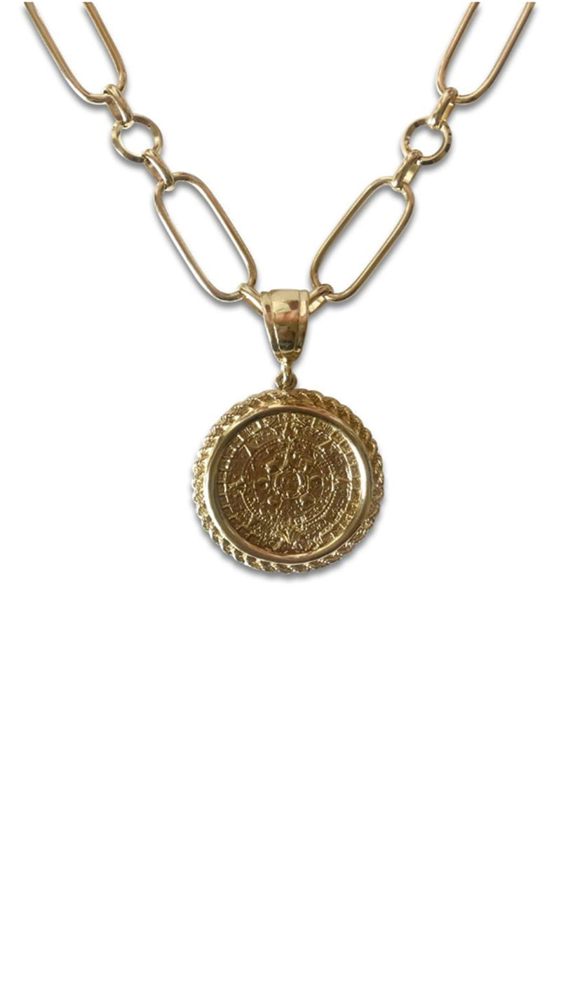 Erin Fader Golden Coin Necklace with Large Chain Links