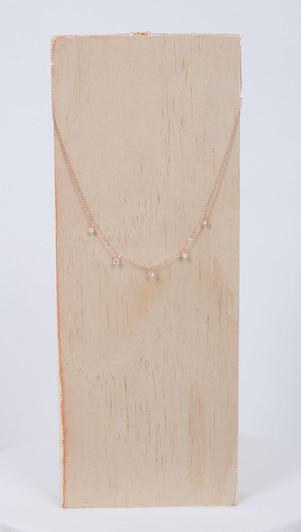 Étoile Rose Gold Necklace With 5 Clear Crystals Charms
