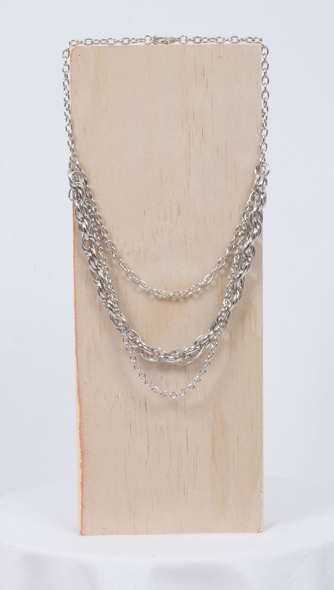 Étoile Silver Chrome Layered Chain Necklace