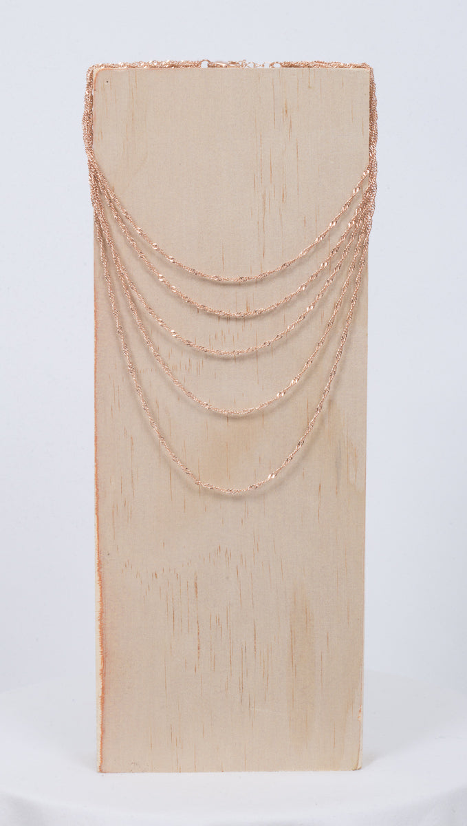 Layered Twist Chain Necklace - Rose Gold