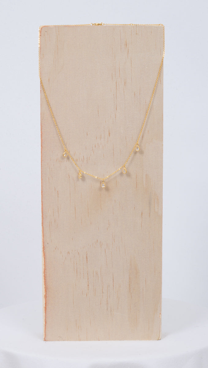 Étoile Gold Necklace With 5 Teardrop Clear Crystal Charms