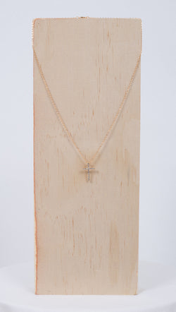 Studded Cross Necklace - Gold