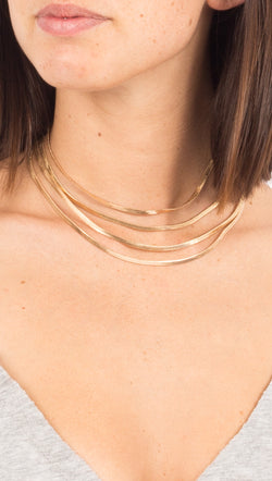 Gold 4 Layer Flat Chain Necklace