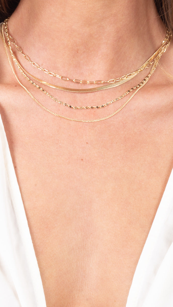 4 Layer Chain Necklace - Gold