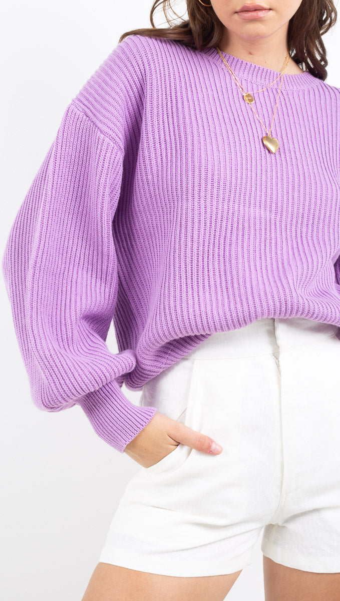 Etoile purple ballon sleeve knit sweater