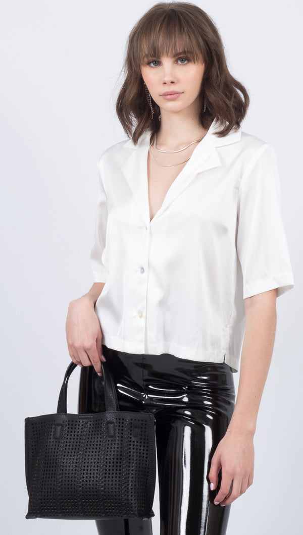 Étoile White Silky V-Neck Button Down Short Sleeve Blouse