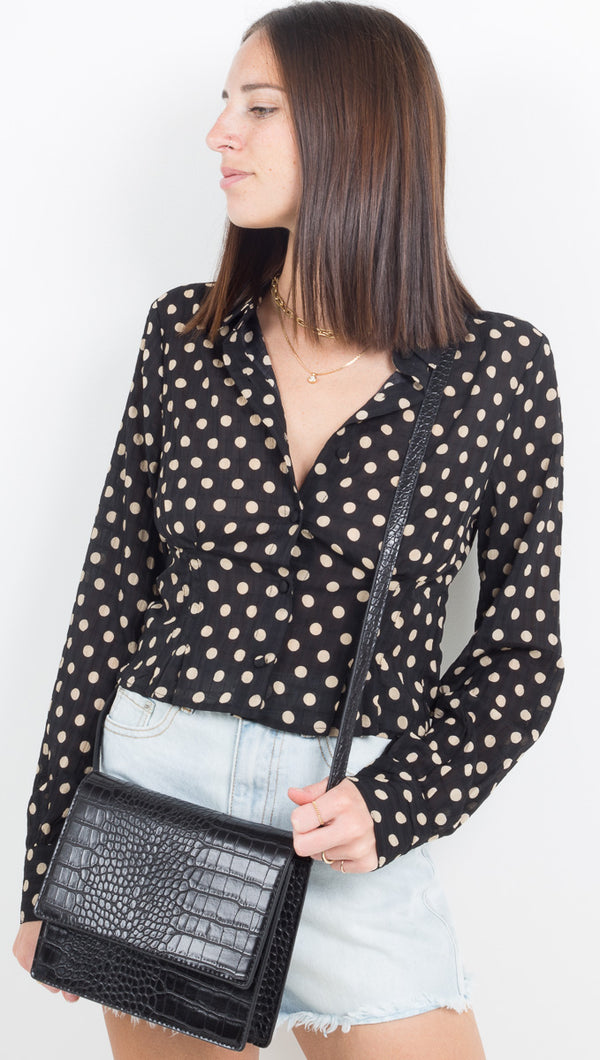 Alyssa Button Down - Black Polka Dot