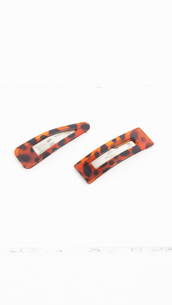 étoile multi colored set of 2 snap-on clips triangle and rectangle
