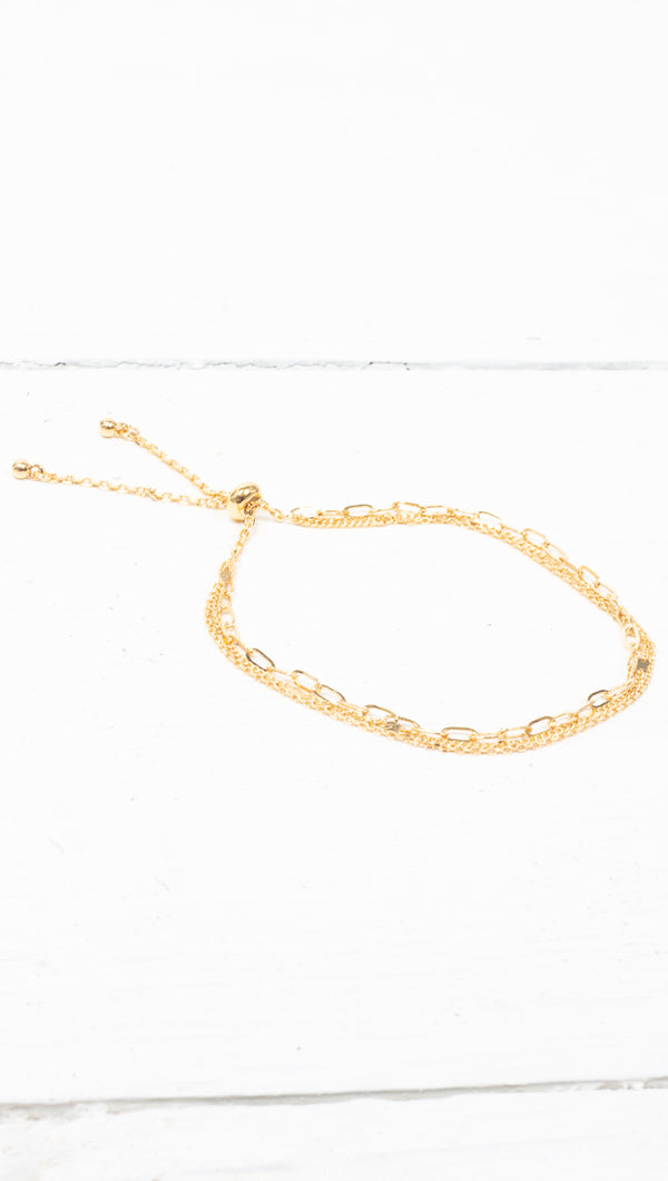 Prelayered Chain Bracelet - Gold Dipped