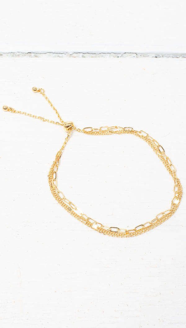étoile Gold Dipped Thin Multi Chain Bracelet