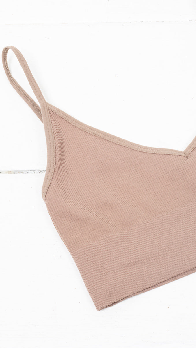 étoile Dark Nude Stretchy Ribbed Bralette With Low Back
