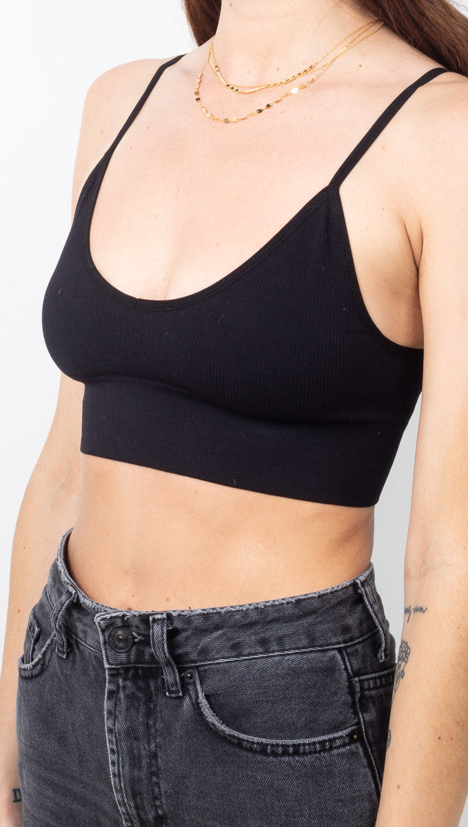 Harlowe Ribbed Bralette - Black