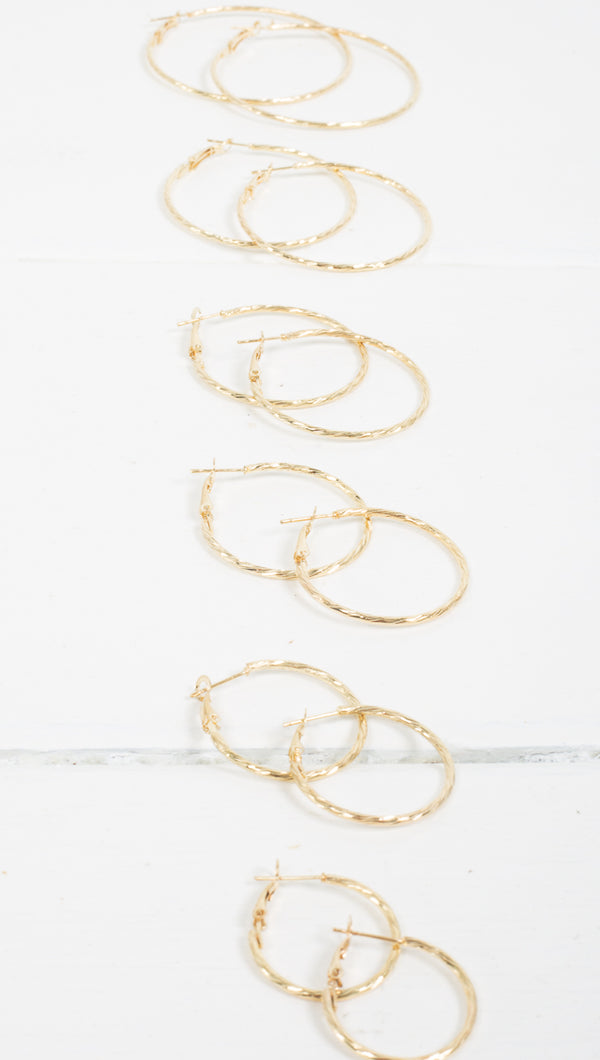 Carina Twist Hoops - Gold