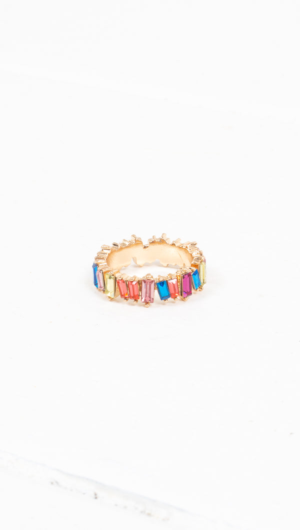 étoile gold thick band ring with rainbow gems