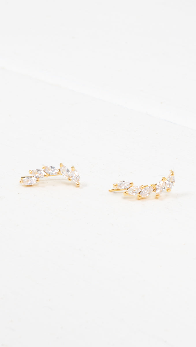 étoile crystal/gold curved crawler earring
