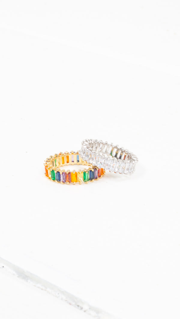 étoile sliver/clear gemstone or gold/rainbow gemstone ring