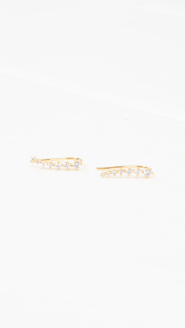 étoile gold curved crawler earrings