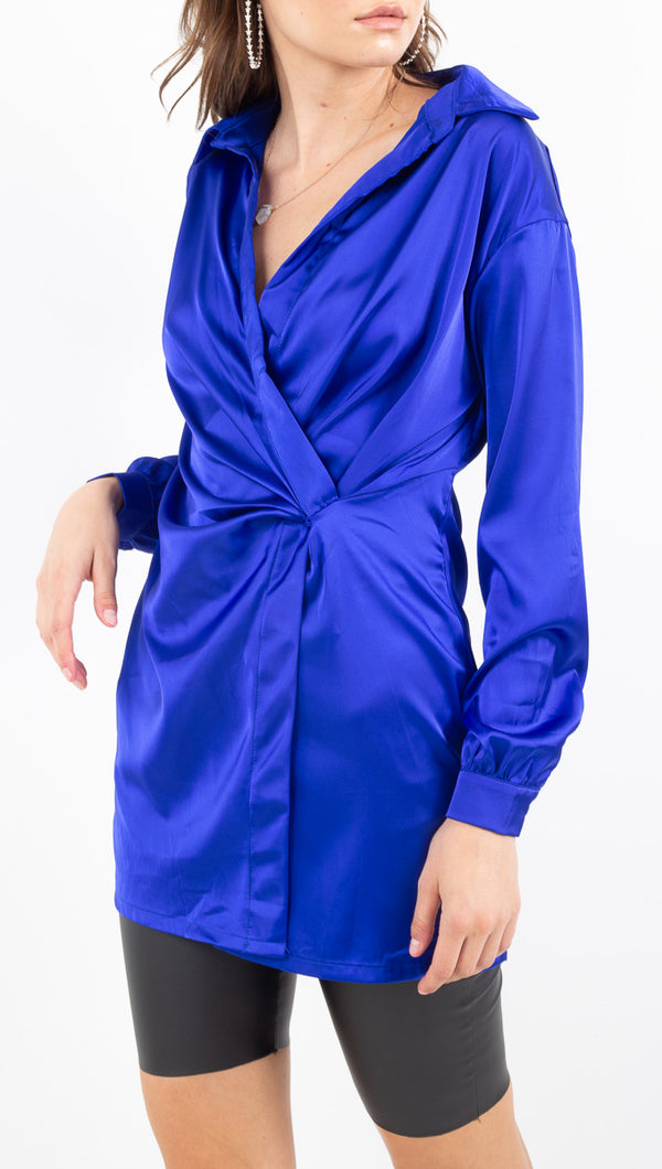 Danica Satin Shirt Dress - Royal Blue