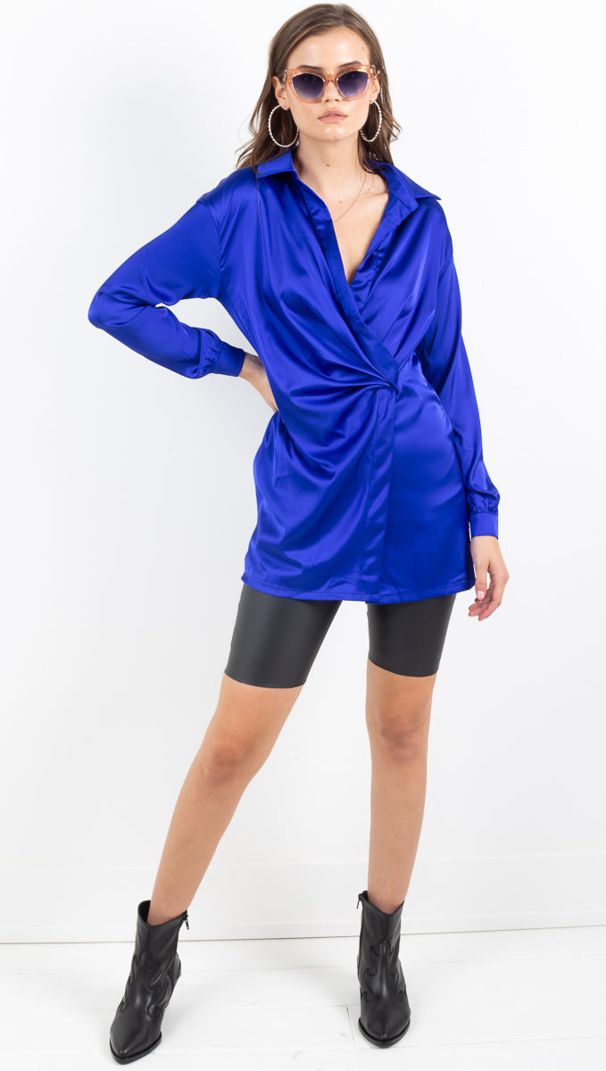 Etoile royale blue silky long sleeve shirt dress