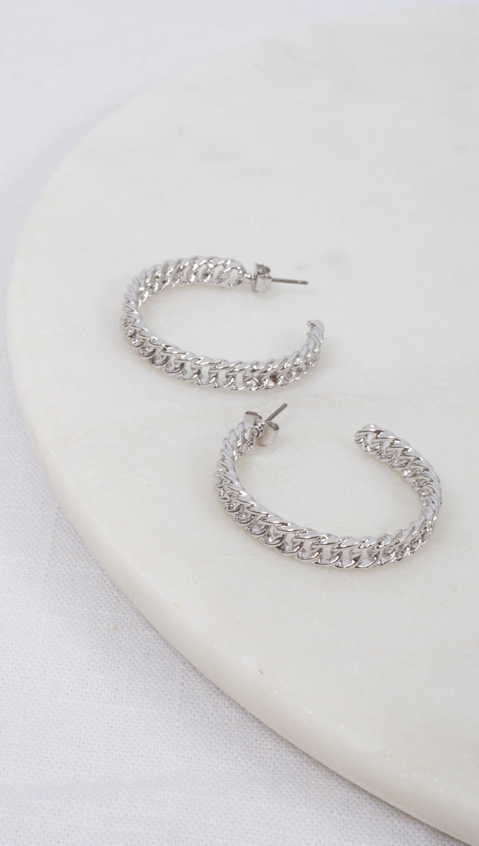 etoile Silver Chain Hoops