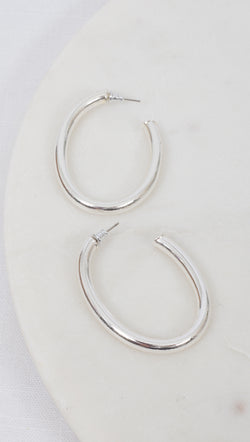 Oval Detached Hoops - Silver