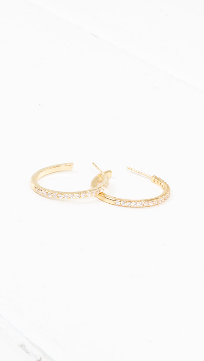 étoile thin studded gold hoops
