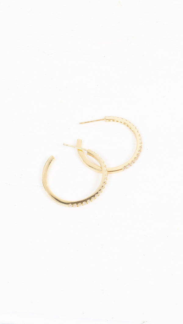 Detached Pave Hoops - Gold