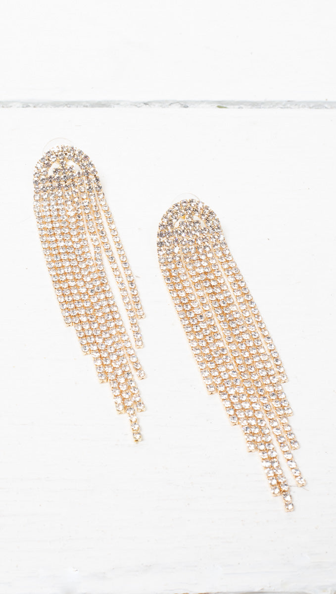 étoile Gold Crystal Earrings With Dangling Strands