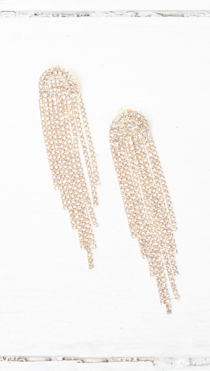 Olivia Crystal Statement Earrings - Gold