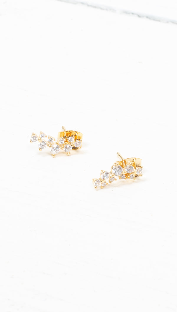 étoile Gold Dipped Clear Crystal Curved Design Studs