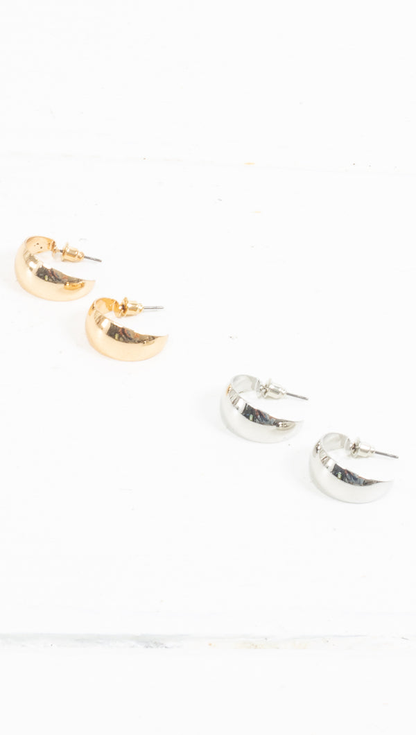 étoile gold/silver small thick hoops