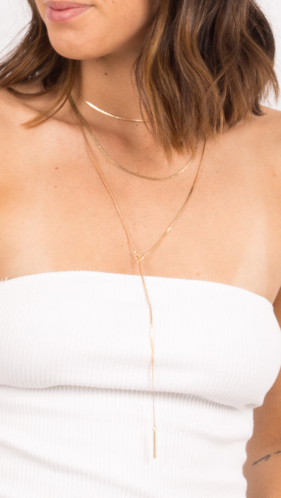 Flat Chain Lariat - Gold