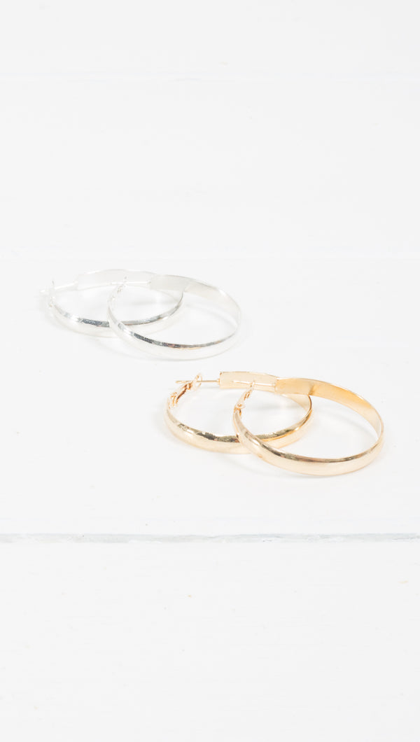 Etoile Grace Thin Wide Band Small Gold and Silver Hoop Earrings