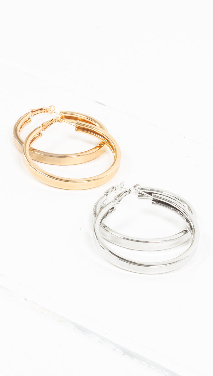 étoile gold/silver medium sized thick hoops