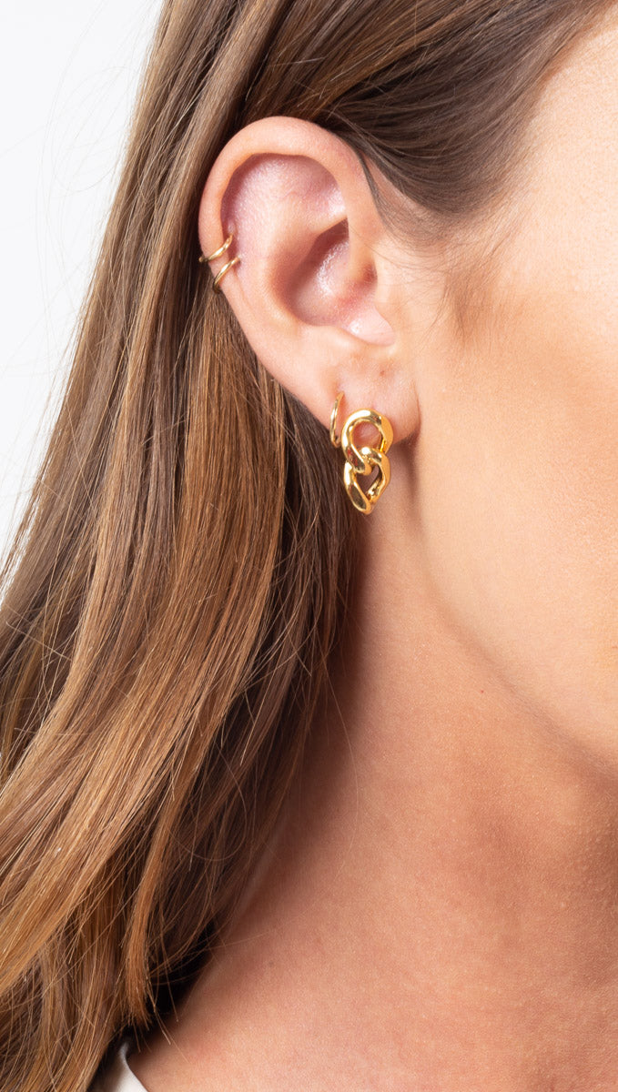 Petit Chunky Chain Studs - Gold Dipped