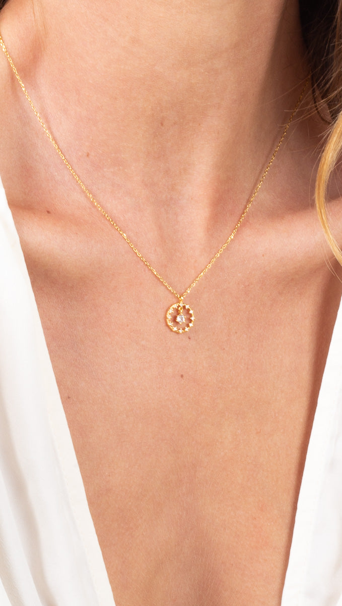 étoile Gold Dipped Necklace with Clear Crystal Round Charm