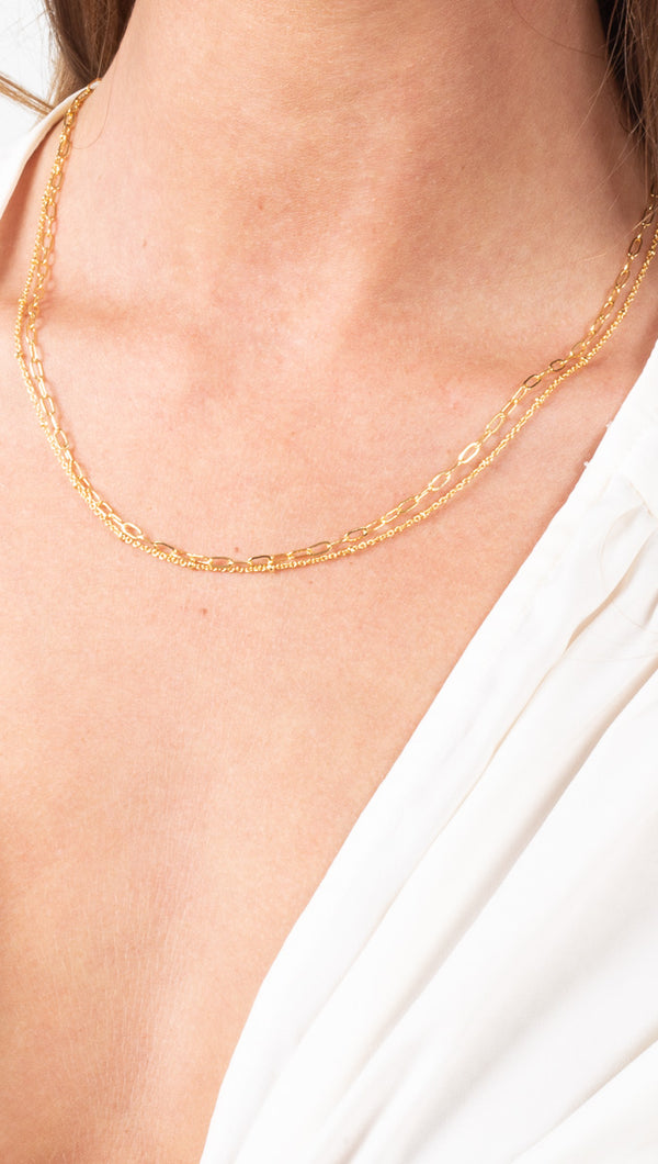 étoile Gold Dipped Two Chain Layered Necklace