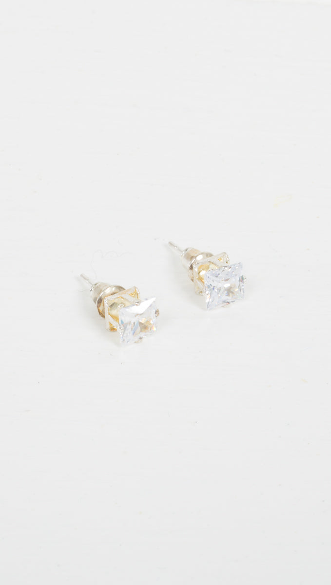 Etoile Square Gemstone Stud Earrings in Silver