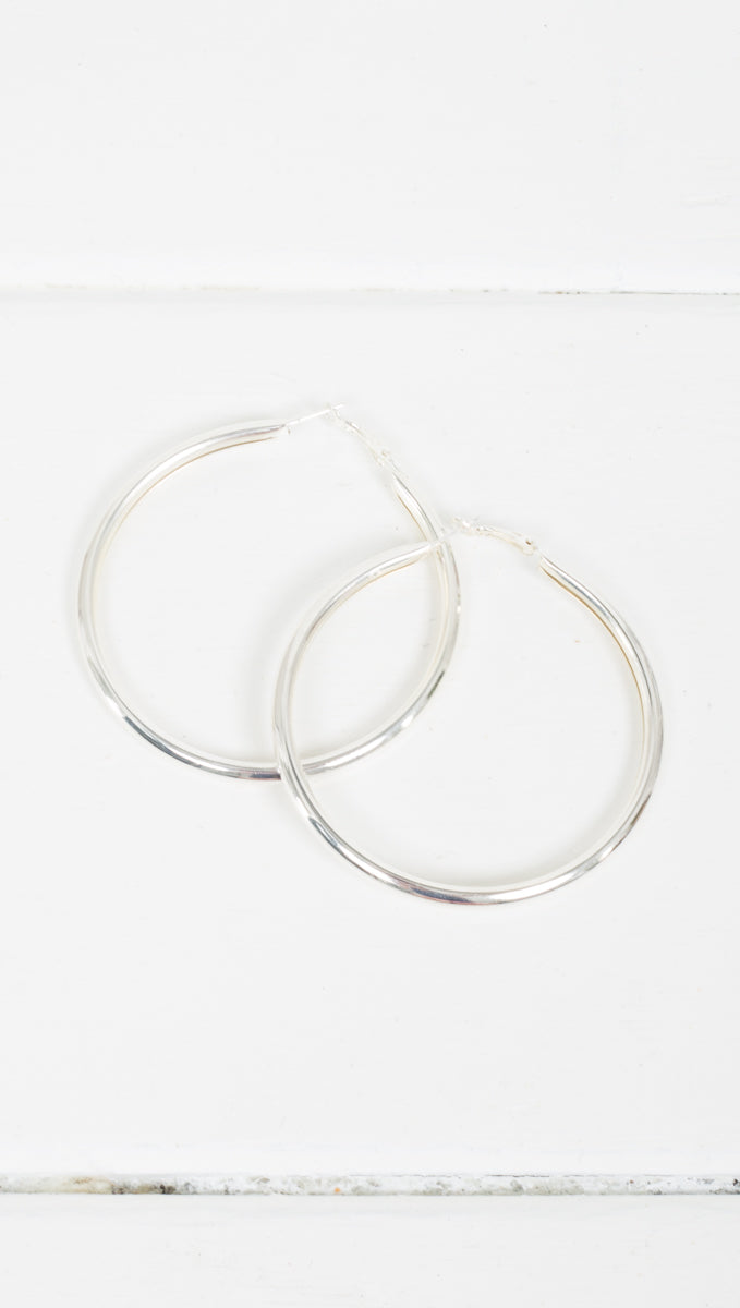 Etoile Thick Silver Jordan Hoop Earrings