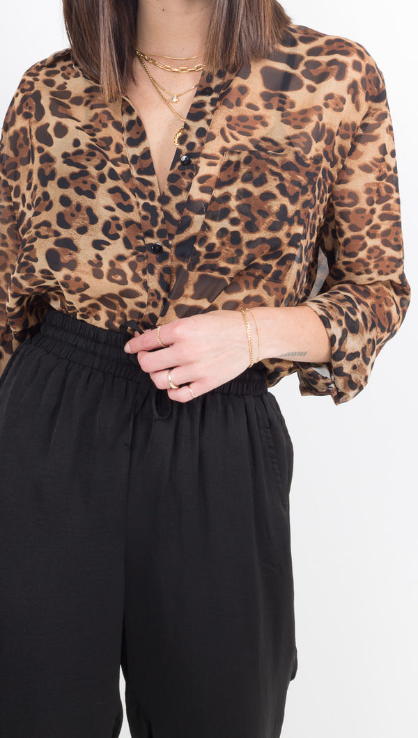 Maxine Button Down - Leopard