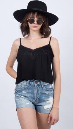 Étoile Black Lace Cropped Cami