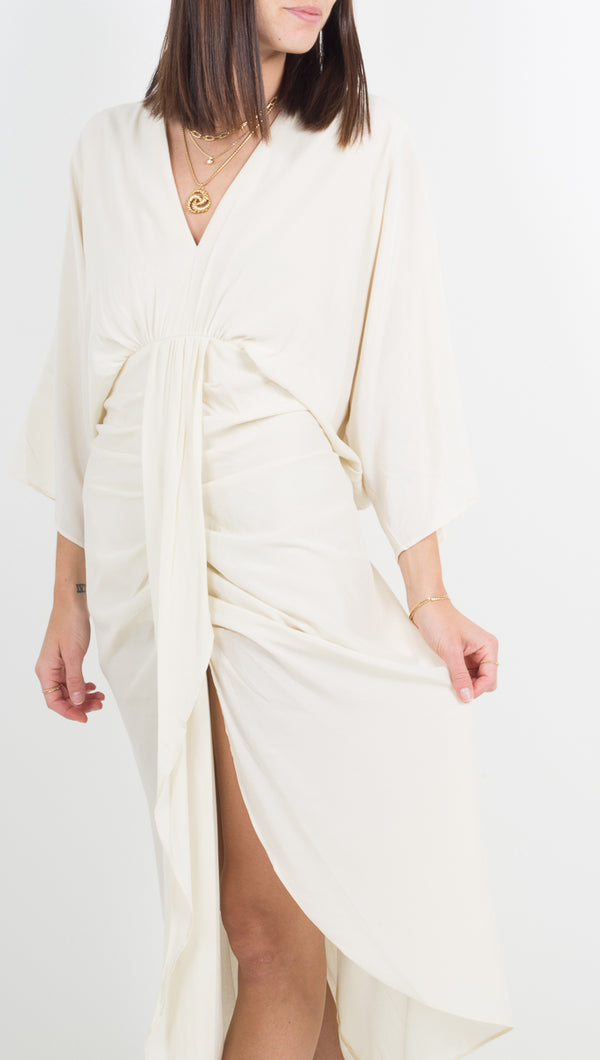 Etoile Monaco Ivory Midi/Maxi Quarter Sleeve Dress