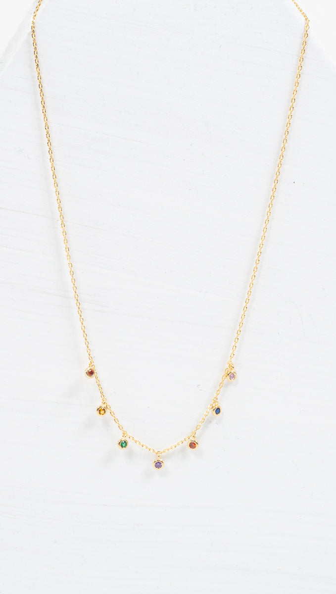 étoile thin gold necklace with 7 rainbow colored charms