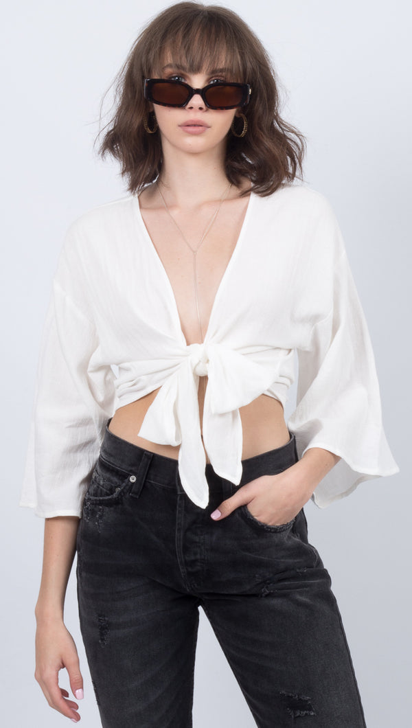 Étoile White Long Sleeve Wrap Tie Top